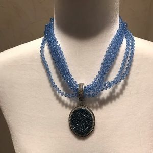 Joan Rivers faux druzy and crystal necklace